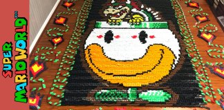 Super Mario World construido con 81032 Dominos