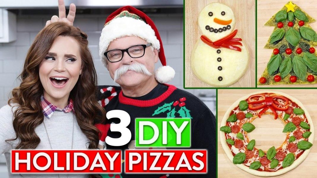 Tres recetas de pizzas temáticas navideñas preparadas por Rosanna y su Papá