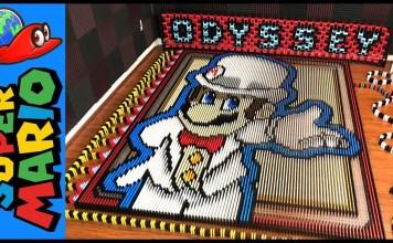 Tributo a Super Mario Odyssey construido con 148777 dominós