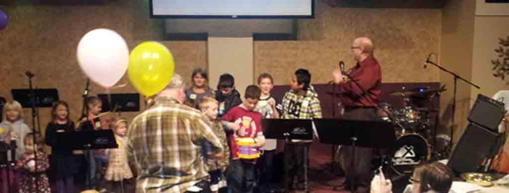 Kids during worship service