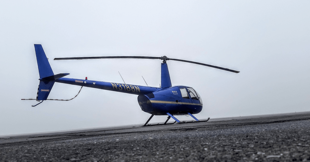 Robinson R44 in the fog