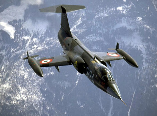 ** FILE ** An Italian Air Force F-104 fighter jet similair to one that crashed in the Netherlands, Thursday, May 2, 2002, is seen in this recent handout photo. The Italian jetfighter, which was sent to mark the jubilee celebaration of the Dutch 312 squadron, crashed on landing at a Dutch air base outside the northern town of Leeuwarden. (AP Photo/Aeronautica Militare Italiana, HO)