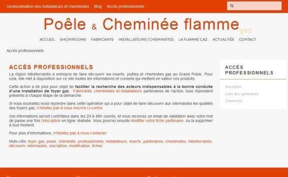 Page d'accès privé et d'enregistrement pour les professionnels de la filière poêles et cheminées gaz, installateurs et cheministes.