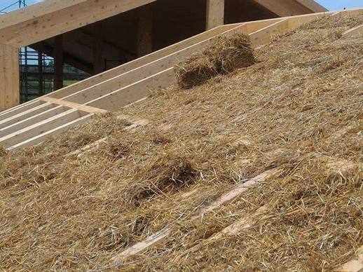 Falda del tetto con paglia pressata