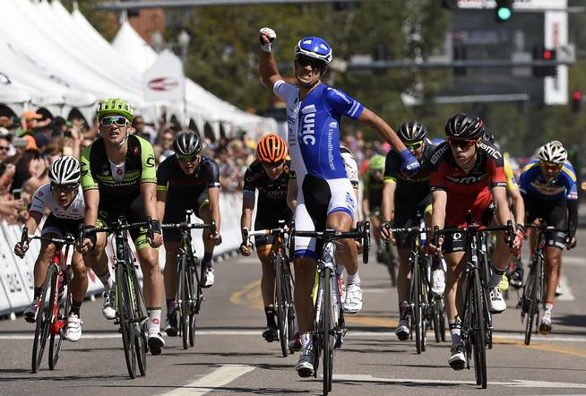 ASPEN, CO - AUGUST 19: Kiel Reijnen, USA, with UnitedHealthcare, pumps his fists in the air after crossing the finish line and winning Stage 3 of the USA Pro Challenge on August 19, 2015 in Aspen, Colorado. (Photo by Helen H. Richardson/The Denver Post)
