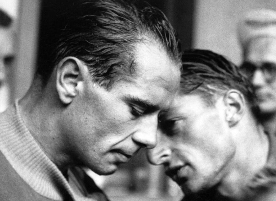 Bern, 20.6.1952. Sport, Rad, Tour de Suisse Hugo Koblet (SUI, li) und Ferdy Kuebler