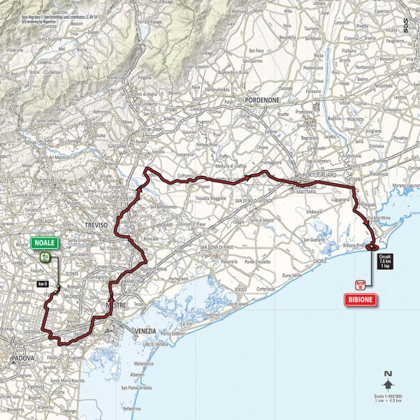 Giro-dItalia-2016-Stage-12-Noale-to-Bibione-route-map