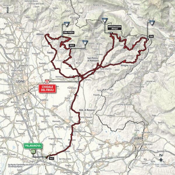Giro-dItalia-2016-Stage-13-Palmanova-to-Cividale-del-Fruiuli-route-map