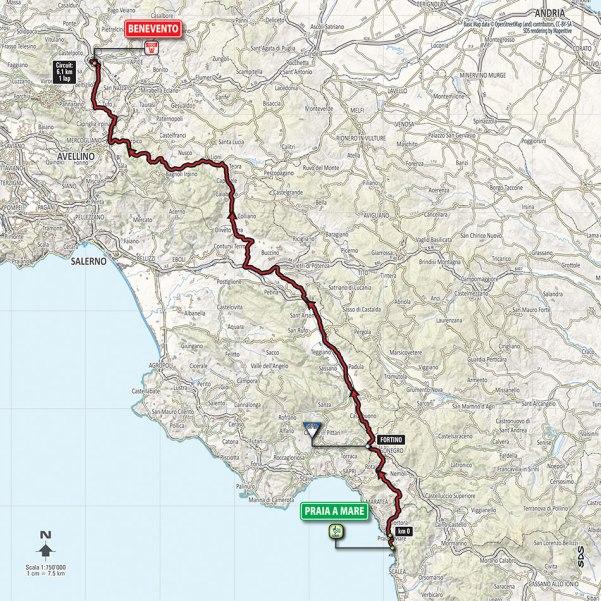 Giro-dItalia-2016-Stage-6-Praia-a-Mare-to-Benevento-route-map