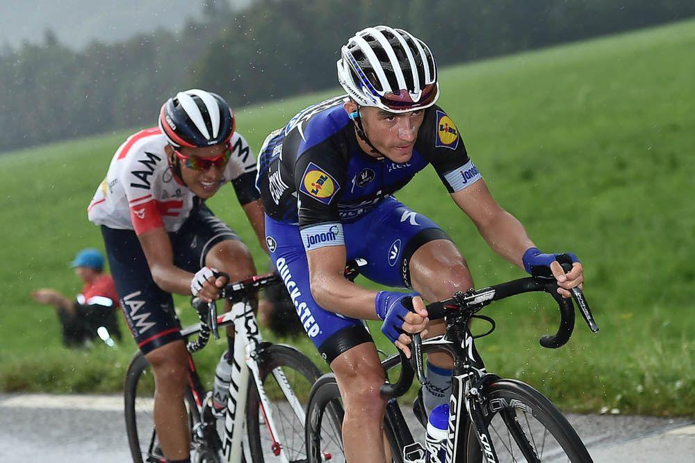 Tour de France 2016 - 23/07/2016 - Etape 20 - Megève / Morzine (146,5 km) - Julian ALAPHILIPPE (ETIXX-QUICK STEP) et Jarlinson PANTANO (IAM CYCLING) ont 50'' d'avance sur leurs premiers poursuivants