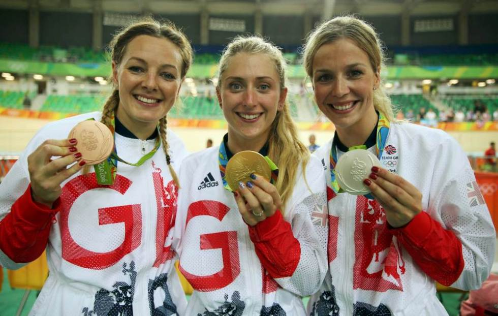 2016 Rio Olympics - Cycling Track - Victory Ceremony - Women's Sprint Victory Ceremony - Rio Olympic Velodrome - Rio de Janeiro, Brazil - 16/08/2016. Silver medalist Rebecca James (GBR) of Britain, bronze medalist Katy Marchant (GBR) of Britain, and women's omnium gold medalist Laura Trott (GBR) of Britain pose with their medals. REUTERS/Matthew Childs FOR EDITORIAL USE ONLY. NOT FOR SALE FOR MARKETING OR ADVERTISING CAMPAIGNS.