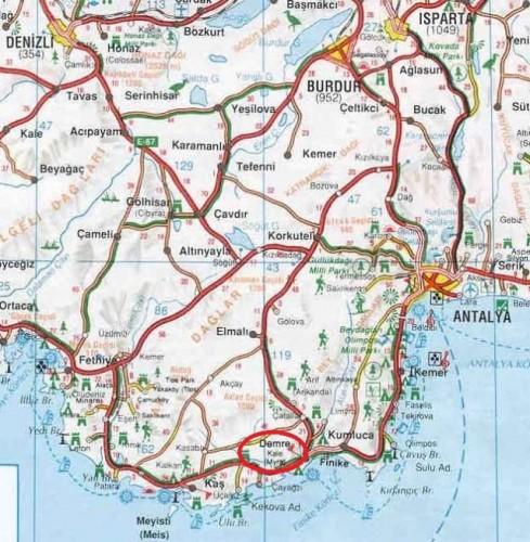 Демре Мира церковь Святого Николая на карте Турции