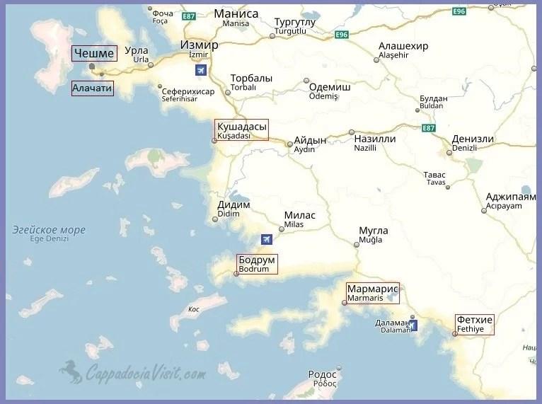 Эгейское побережье Турции - Карта курортов