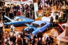 Muscle car enthusiasts check out the Gasoline Muscle car show