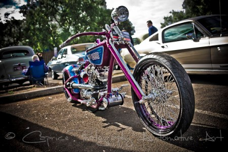 Custom Harleys are right at home at a car show