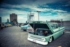 lowered, airbags, pickup, green pickup, chevy pickup