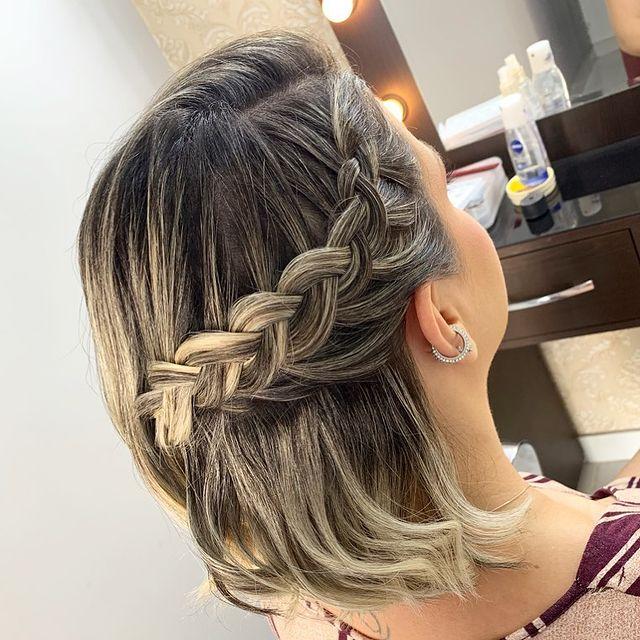 Penteados para cabelo curto - Trança lateral
