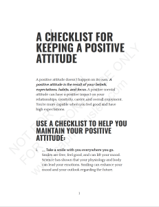 A CHECKLIST FOR KEEPING A POSITIVE ATTITUDE
