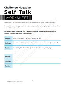 SELF TALK WORKSHEET