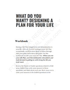 DESIGNING A PLAN FOR YOUR LIFE