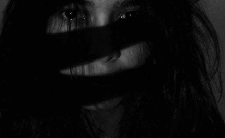 monochrome photo of woman