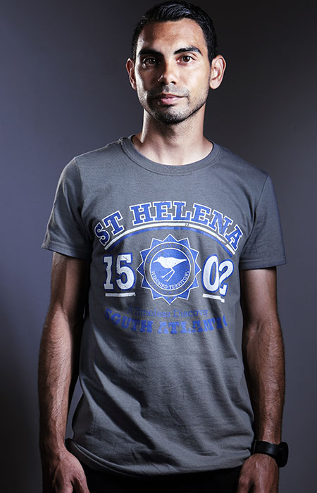 Mens St Helena Island t-shirt charcoal white & blue