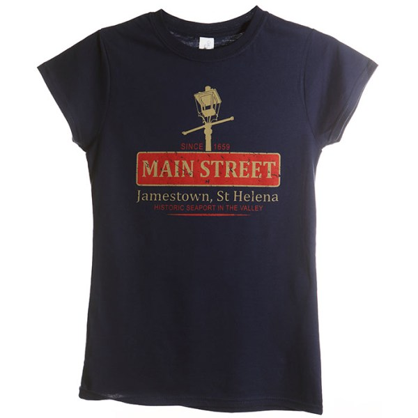 Ladies St Helena t-shirt navy NOLA design