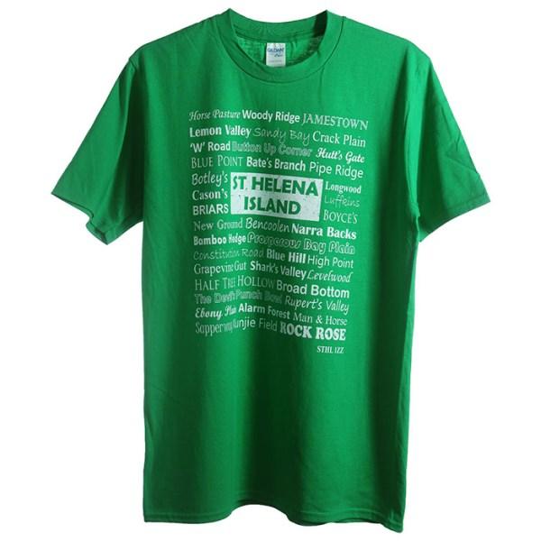 St Helena t-shirt Bencoolen green