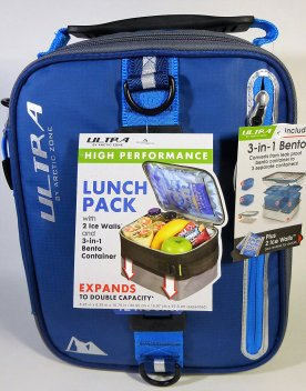 Expandable Lunch Box with two ice packs held in zippered compartments
