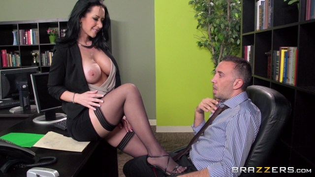 Busty Brunette Jayden Jaymes in Black Stockings Rides a Big Cock and Gets Her Pu... Starring:  Jayden Jaymes