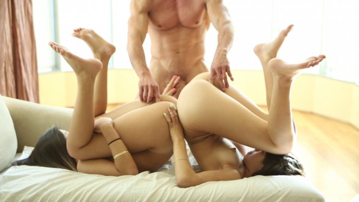 Adorable Young Brunettes Share Tommy Gunn's Large Hard Cock Starring: Tommy Gunn, Ava Taylor, Natalie Monroe,