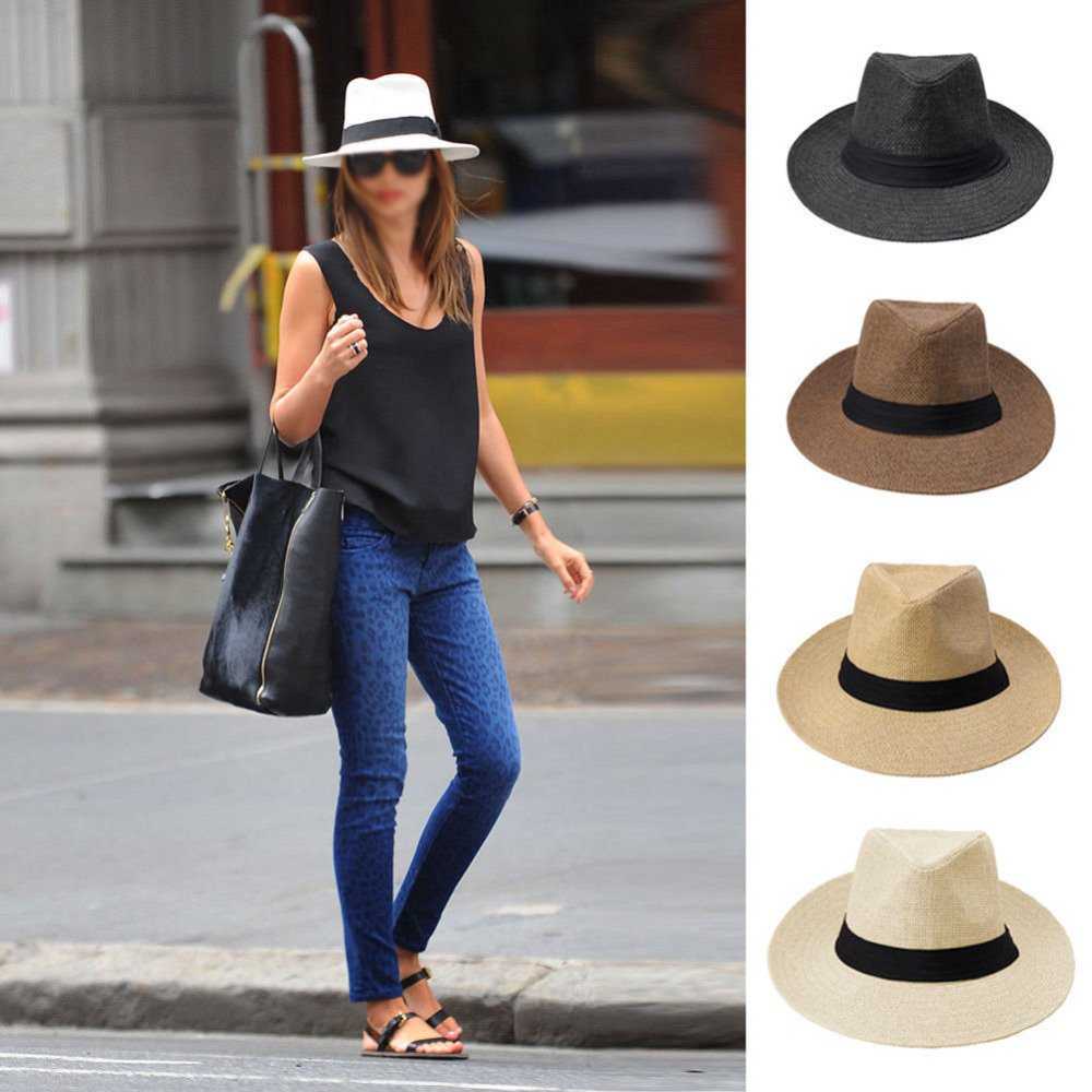 f770838e0f9 Home   Hats   Men Women Fedora Wide Brim Black ribbon patchwork Straw hat  Trilby Cap Panama Unisex Summer Beach Sun Hat chapeu feminino Y1. Sale!