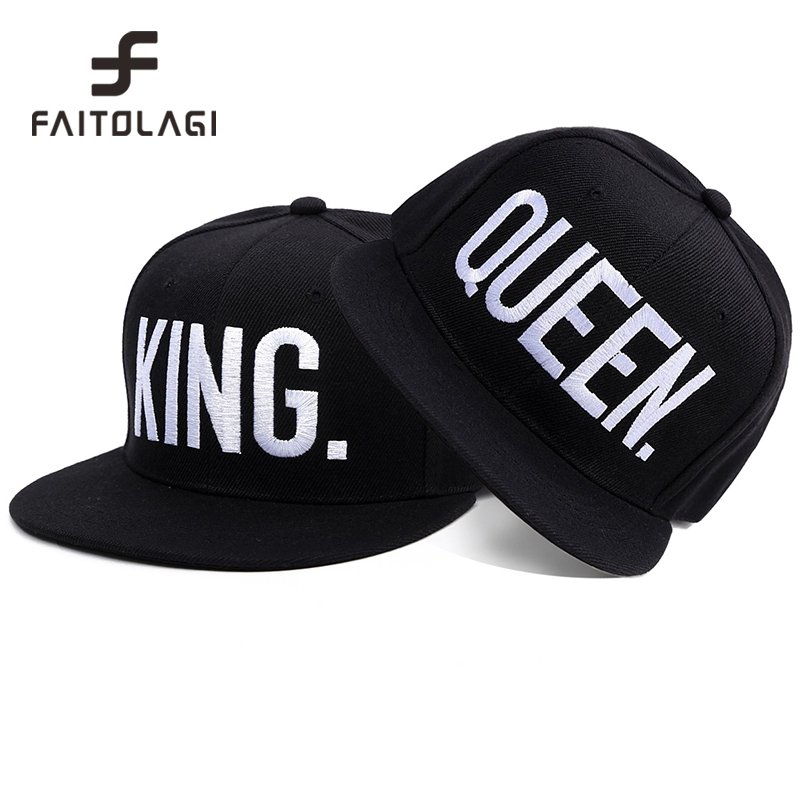 191a6297377 1PC KING QUEEN Embroidered Snapback Caps Lover Men Women Baseball ...