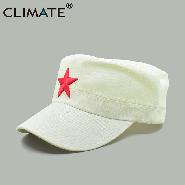 88298b55155c CLIMATE 2017 Men Solid Red Star Army Cool Flat Top Caps China ...