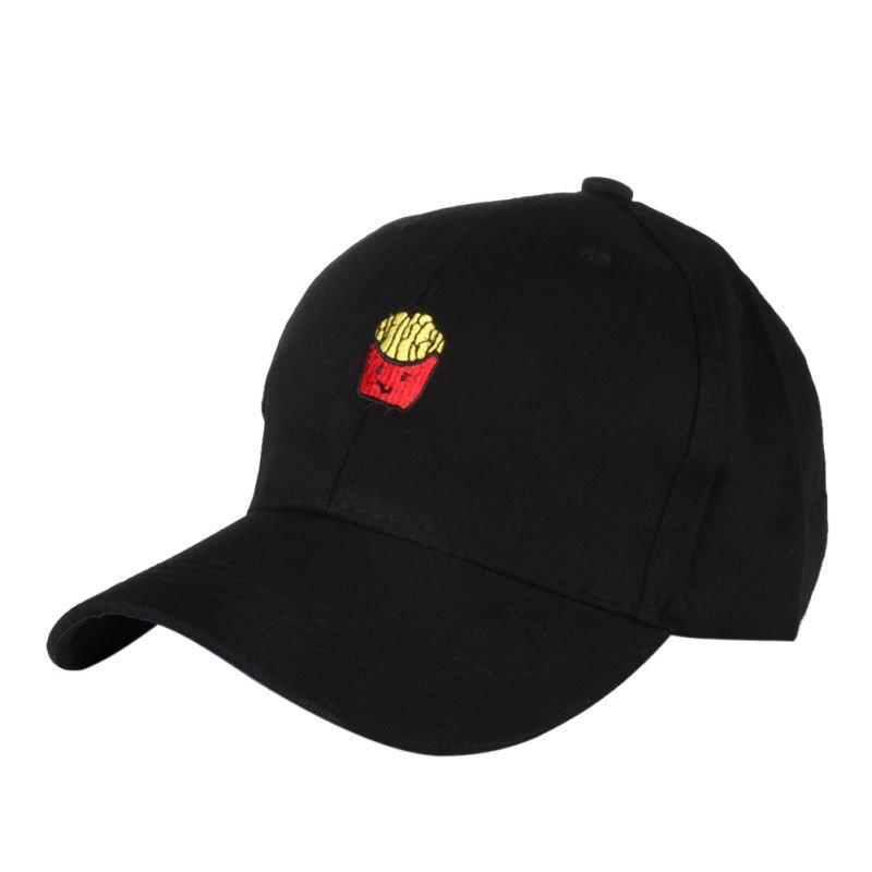 Cute French Fries Embroidery Baseball Cap Women Men Hip Hop Curved ... bbc31b3c8af3