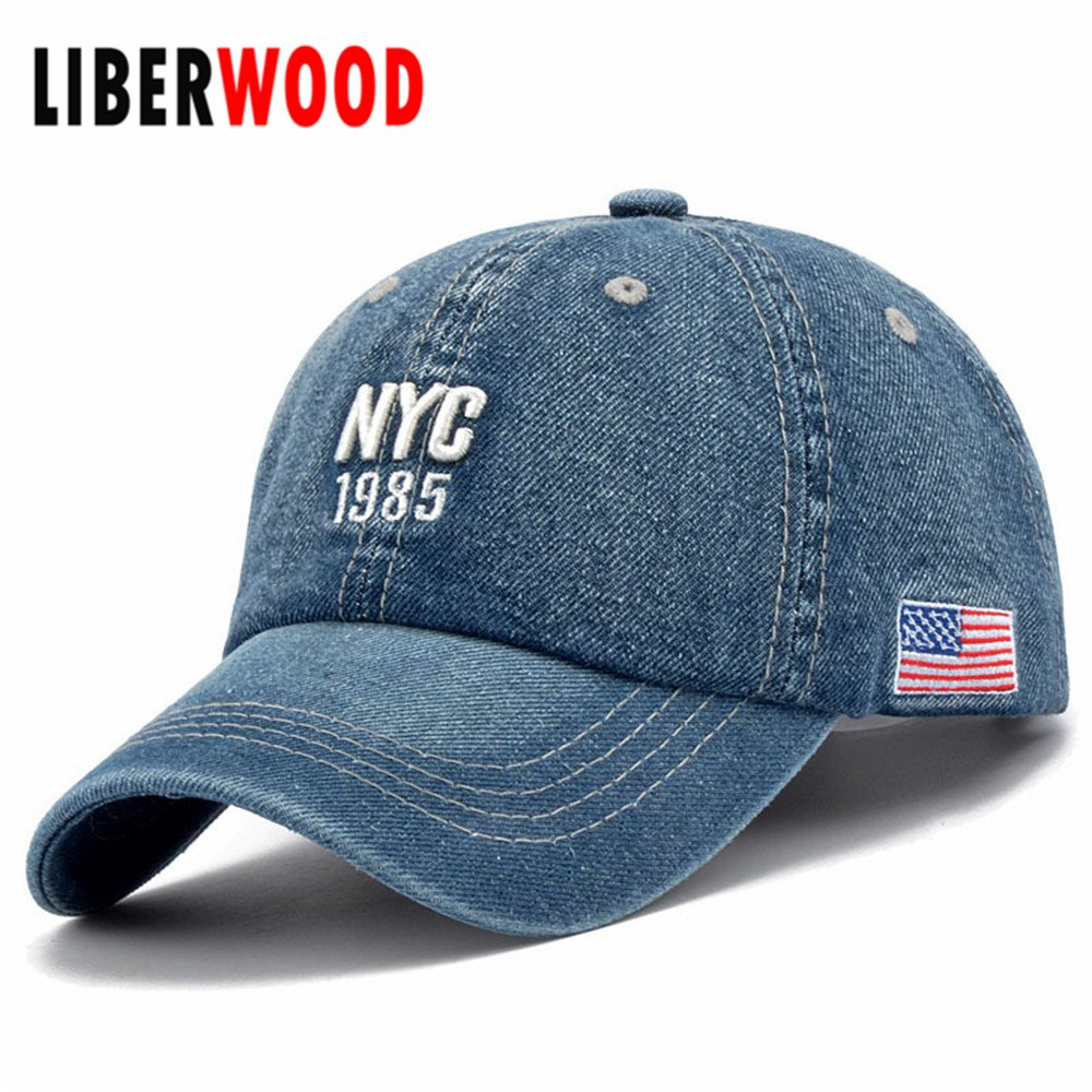 Baseball Cap Cute Adjustable Hats Denim Caps Dad Fitted Lincoln-car-United-States-Flag