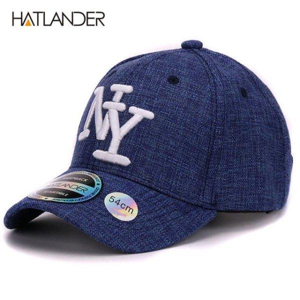 HATLANDER kids cotton linen baseball caps for boys girls outdoor sun hats NY letter adjustable casual children sports cap 16