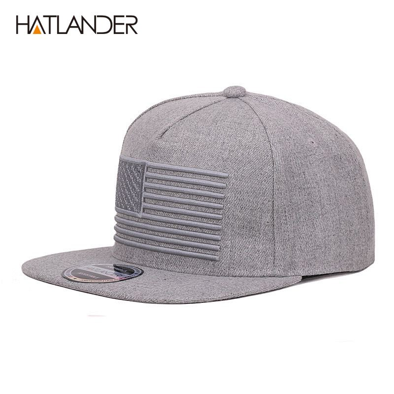 HATLANDER  Raised flag embroidery cool flat bill baseball cap mens gorras  snapbacks 3D flag hat ... ccd52268707