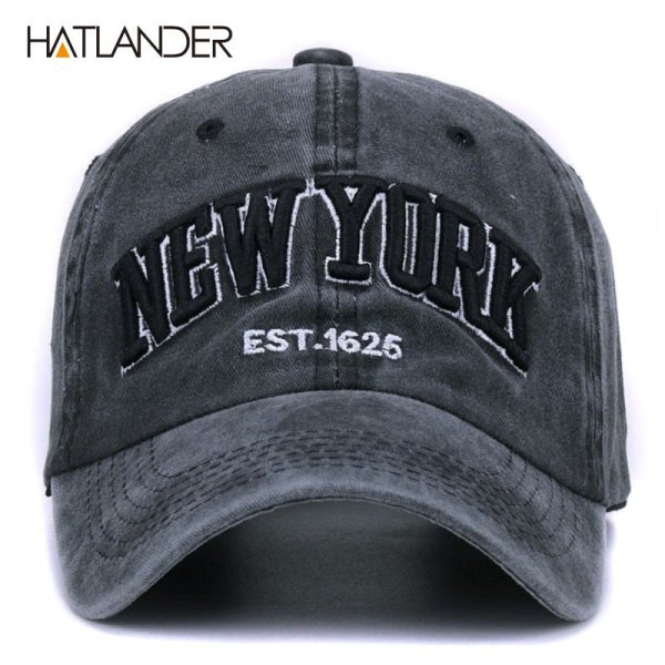 [HATLANDER]Sand washed 100% cotton baseball cap hat for women men vintage dad hat NEW YORK embroidery letter outdoor sports caps 2