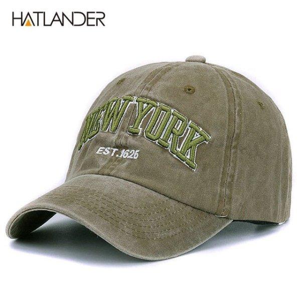 [HATLANDER]Sand washed 100% cotton baseball cap hat for women men vintage dad hat NEW YORK embroidery letter outdoor sports caps 8