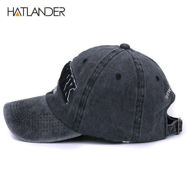[HATLANDER]Sand washed 100% cotton baseball cap hat for women men vintage dad hat NEW YORK embroidery letter outdoor sports caps 3