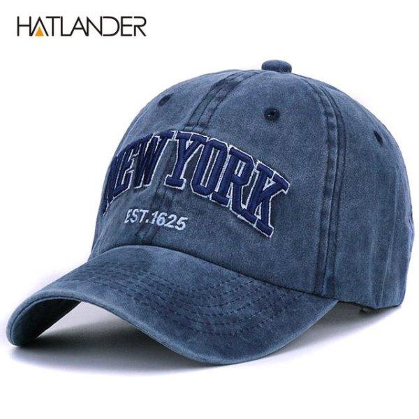 [HATLANDER]Sand washed 100% cotton baseball cap hat for women men vintage dad hat NEW YORK embroidery letter outdoor sports caps 13