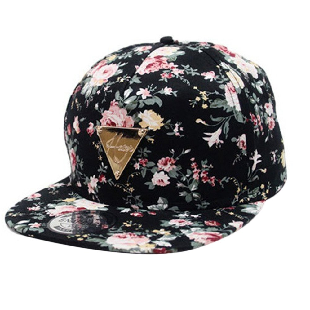 ad378f8ce21 Men Women Baseball Cap Hip Hop Caps Floral Flower Snapback Hat Hip-Hop Flat  Adjustable ...