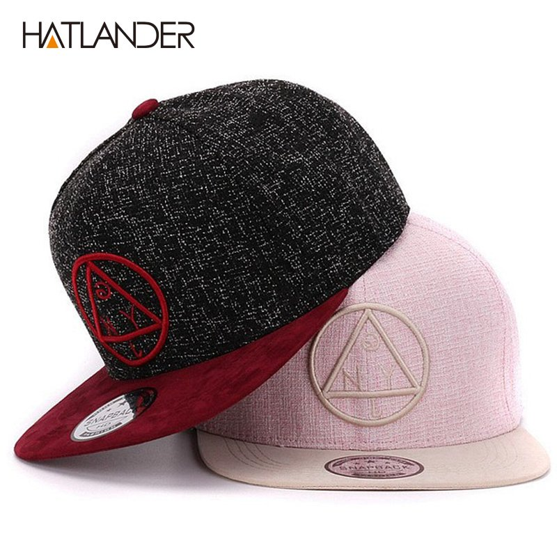 1e304b05ac5 Quality snapback cap round triangle embroidery brand flat brim baseball cap  youth hip hop cap and