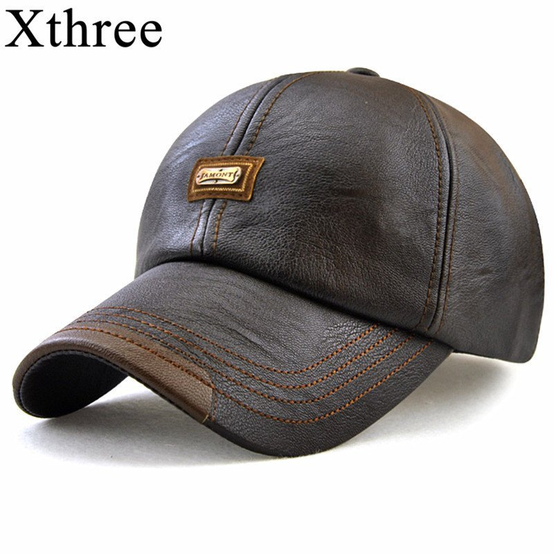 Xthree New fashion high quality faux leather Cap fall winter hat ... 062eae38b92
