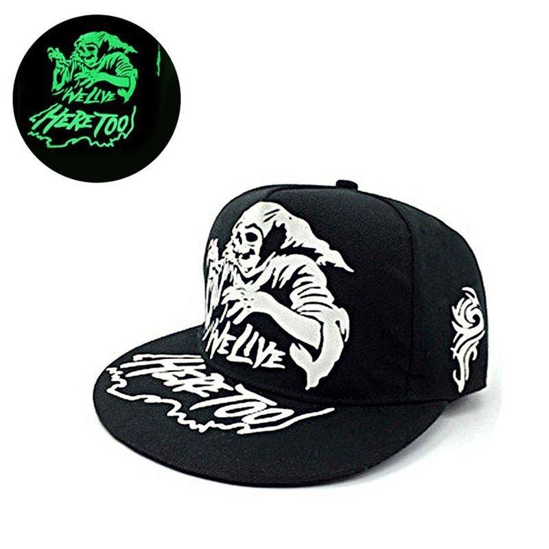 8deab23ede3 green Glow Dark Snapback Caps little stars Hip Hop Fluorescent Baseball Cap  ...