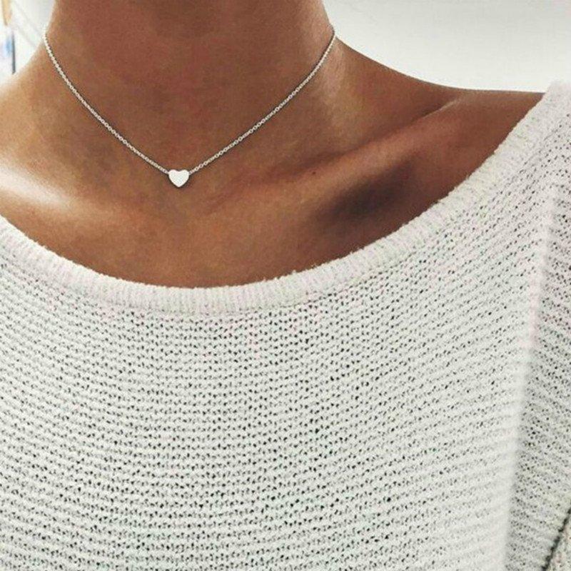 ece2b113db58 2017 Love Heart Chocker Silver Chain Choker Necklace For Women ...