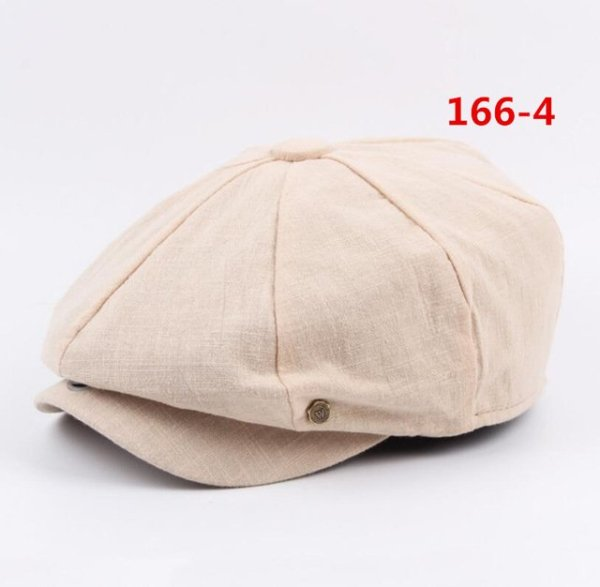 octagonal cap winter male British style retro linen painter hat solid color stitching fashion hat 20