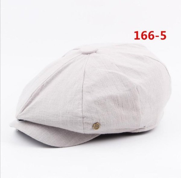 octagonal cap winter male British style retro linen painter hat solid color stitching fashion hat 22
