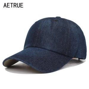 e24c07bc72207 AETRUE Washed Jeans Baseball Cap Men Dad Snapback Hats Caps For Women Falt  Bone Denim Blank Gorras Casquette Plain Male Cap Hat